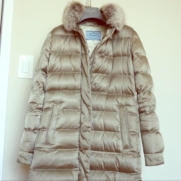 228a2fa219 Prada Quilted Down Jacket Fur-Trimmed size 38
